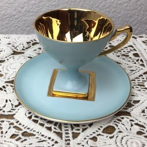 PM Gold and Robins Egg Blue Demitasse Tea Cup